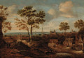 A wooded landscape with a view of a town - (after) Claes Molenaar (see Molenaer)