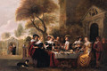 Elegant company at a table on a terrace by a classical portico - (after) Christoph Jacobsz. Van Der Lamen