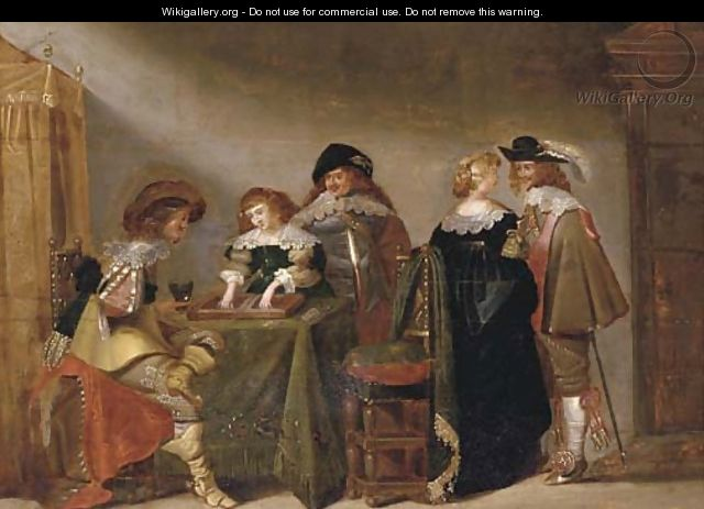 Elegant company playing backgammon in an interior - (after) Christoffel Jacobsz. Van Der Lamen