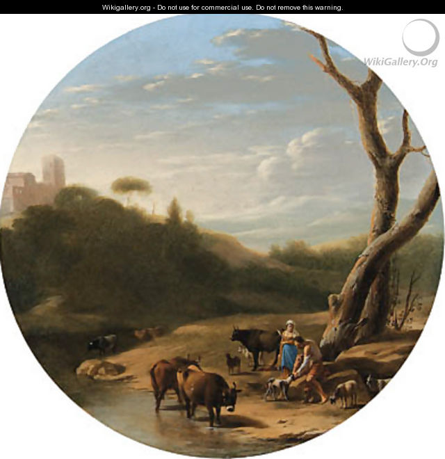 An Italianate wooded landscape with a herdsman and a shepherdess, cattle and goats watering at a stream - (after) Cornelis Poelenburgh