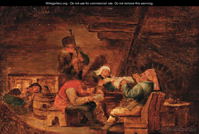 Peasants making music in a cottage - (after) Cornelis Dusart
