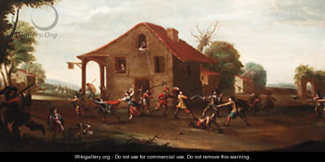 Soldiers fighting outside a tavern - (after) Cornelis De Wael