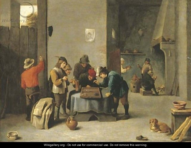 Peasants playing backgammon in an interior - (after) David The Younger Teniers