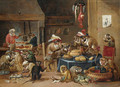 Monkeys preparing food in a kitchen - (after) David The Younger Teniers