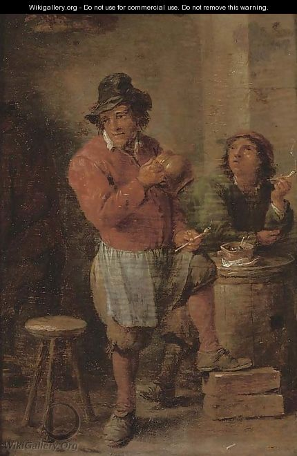 Boors smoking in a tavern - (after) David The Younger Teniers