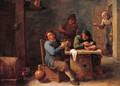 Boors smoking in a barn - (after) David The Younger Teniers