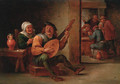 A boor playing a lute in an interior with a woman drinking at his side, peasants playing cards beyond - (after) David The Younger Teniers