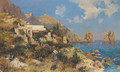 A lady by a coastline cottage in Capri - (after) August Lovatti