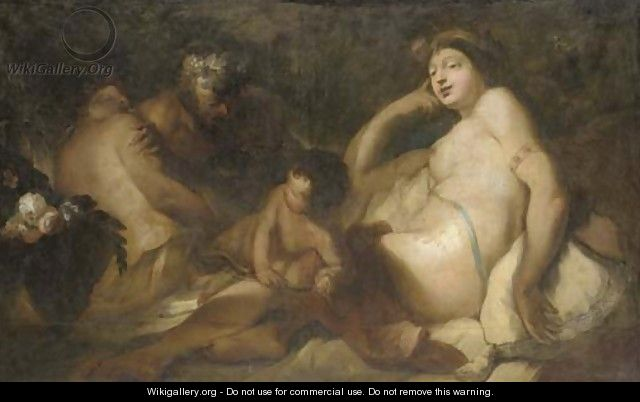 Venus and Bacchus with cupid and a satyr - (after) Antonio Molinari