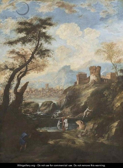 A mountainous river landscape with Diana and Actaeon - (after) Antonio Marini