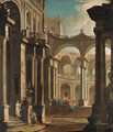 A capriccio of the courtyard of a baroque palace with musicians and other figures - (after) Antonio Joli