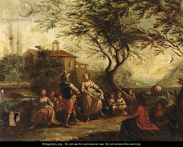 Travellers conversing by a River - (after) Antonio Diziani