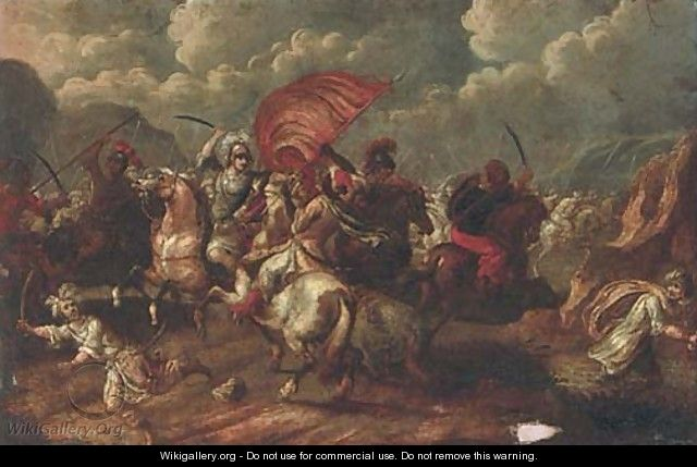 A cavalry skirmish between Christians and Turks - (after) Antonio Calza