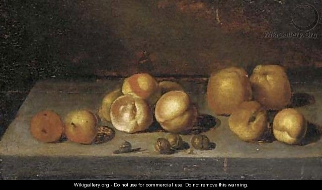 Apples, peaches, walnuts and a snail on a stone ledge - (after) Bartholomeus Assteyn