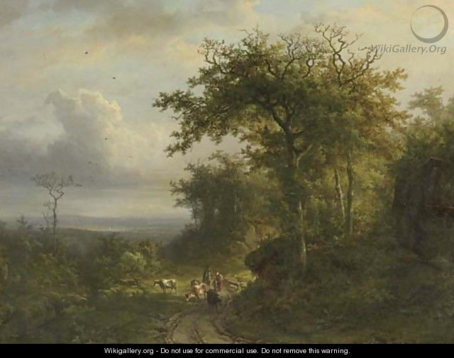 Peasants on a wooded path, a valley beyond; and peasants entering a chapel in a wooded valley - (after) Barend Cornelis Koekkoek