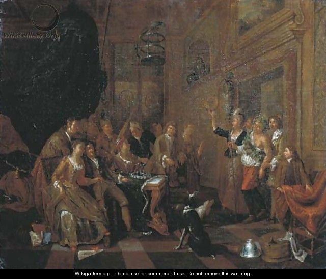Elegant company feasting in an interior, a man dressed as Bacchus entering the room - (after) Balthasar Van Den Bossche