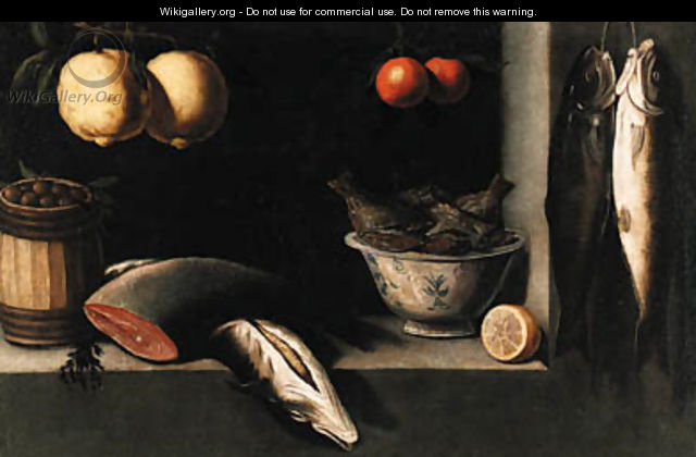 Lemons, oranges, a barrel of olives, salmon and a bowl of fish in a niche - (after) Alejandro De Loarte