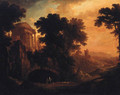 An Italianate landscape with herders on a track by a ruined temple at dusk - (after) Albert Meyeringh