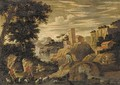 A mountainous river landscape with a shepherd and other figures, a fortress and a house beyond - (after) Agostino Tassi