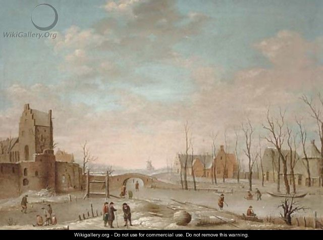 A winter landscape with figures playing kolf on a frozen river, a windmill and walled town beyond - (after) Aert Van Der Neer
