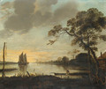 A River Landscape at Dusk with a Fisherman and a Rowing Boat, sailing boats beyond - (after) Aert Van Der Neer