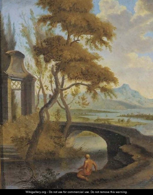An extensive river landscape with a bather by a bridge - (after) Aelbert Meyeringh