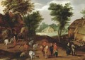 Travellers conversing in a village - (after) Adriaan Van Stalbemt