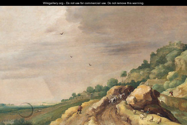 An extensive landscape with drovers on a rocky path by a river - (after) Adriaan Van Stalbemt