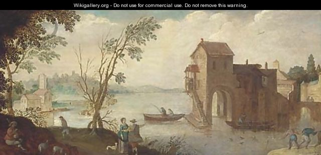 A wooded river landscape with a boathouse and fishermen - (after) Adriaan Van Stalbemt