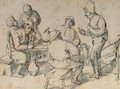 Smokers and drinkers by a table - (after) Adriaen Jansz. Van Ostade