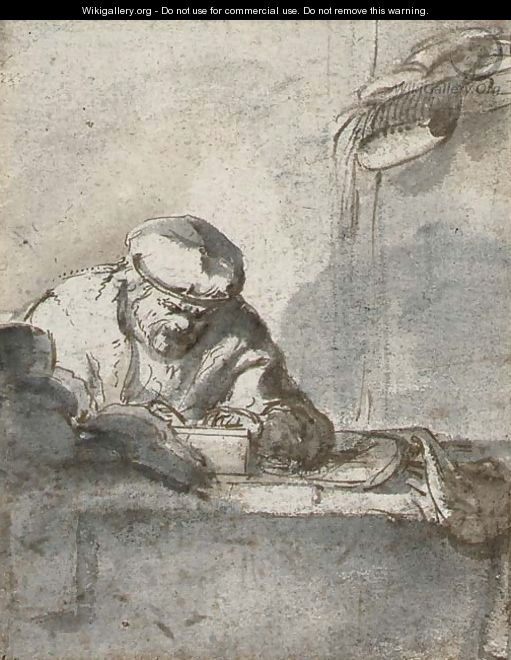 A man seated at a table writing - (after) Adriaen Jansz. Van Ostade