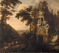 An Italianate landscape with a drover and his herd amongst ruins - (after) Adriaen Van Diest
