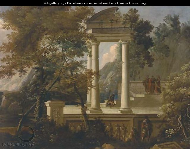An extensive mountainous wooded landscape with figures conversing amongst classical ruins - (after) Adriaen Van Diest