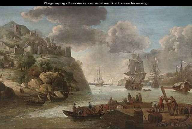 A squadron of the Royal Navy in a Mediterranean harbour - (after) Adriaen Van Diest