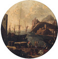 A Mediterranean port with figures on a quay, a clifftop fort beyond - (after) Adriaen Van Der Cabel