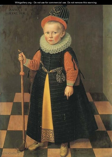 Portrait of a young boy - (after) Adriaen Van De Linde