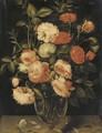 Red, pink and white roses in a glass vase with a butterfly on a ledge - (after) Alexander Adriaenssen