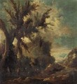 A river landscape with figures in the foreground - (after) Alessandro Magnasco