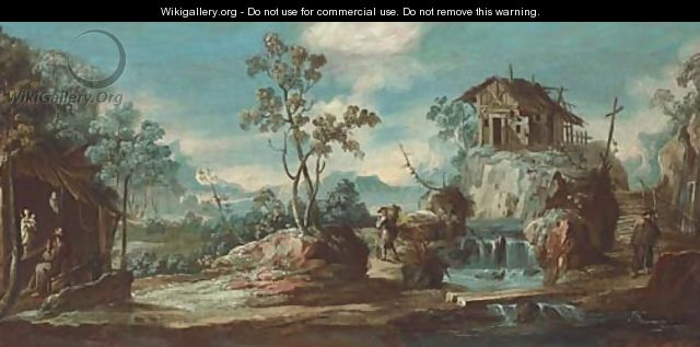 A river landscape with a hermit monk and travellers - (after) Alessandro Magnasco