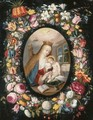 A garland of flowers surrounding a medallion of the Virgin and Child - (after) Andries Daniels