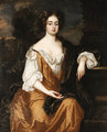 Portrait of Mrs. Overbury, seated three-quarter length, wearing a gold dress with a brown cloak, a landscape with a parkland beyond - (after) Kneller, Sir Godfrey