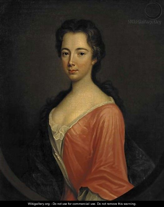 Portrait of Miss Ray, three-quarter-length, in a red dress and blue wrap, feigned oval - (after) Kneller, Sir Godfrey