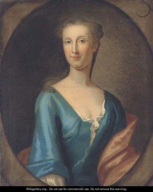Portrait of Martha Rawson of Bolling, bust-length, in a blue dress and red wrap, in a feigned oval - (after) Kneller, Sir Godfrey