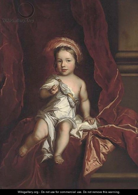 Portrait of a young boy, seated full-length, wearing a white tunic, a red curtain beyond - (after) Kneller, Sir Godfrey