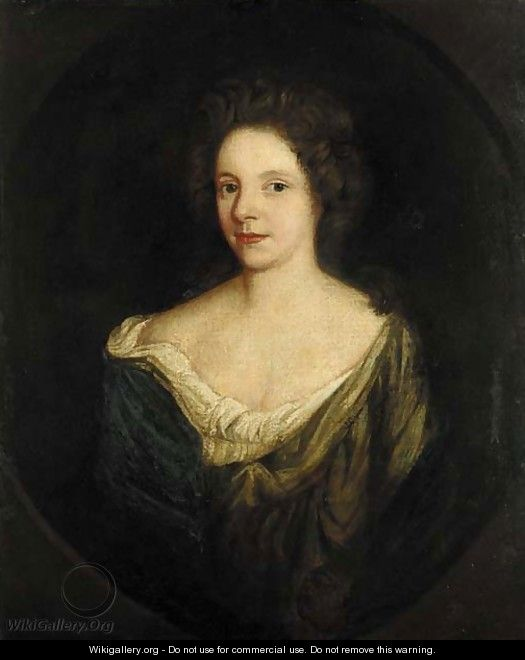 Portrait of a lady, quarter-length, in a green dress with a blue wrap, feigned oval - (after) Kneller, Sir Godfrey