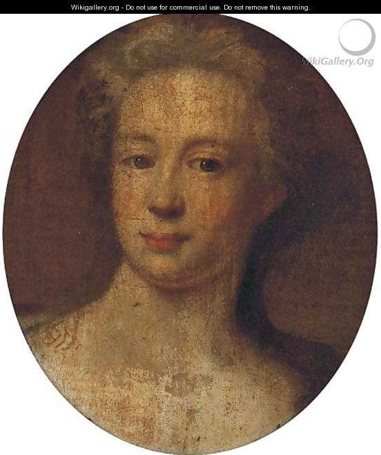 Portrait of a lady, head-and-shoulders, oval - (after) Kneller, Sir Godfrey