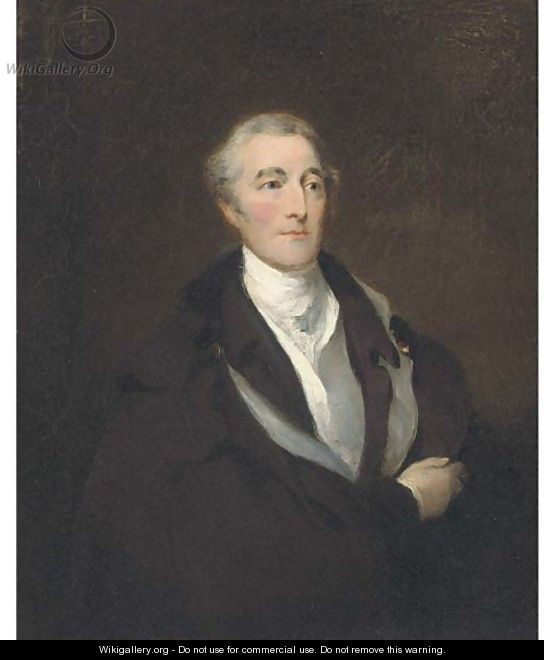 Portrait of Arthur Wellesley, Duke of Wellington, half-length, in a black coat and cloak, with a white shirt - (after) Lawrence, Sir Thomas
