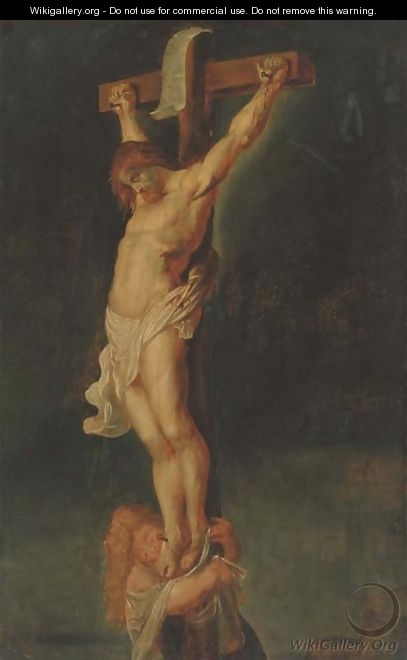 Christ on the Cross with the Magdalen - (after) Sir Peter Paul Rubens