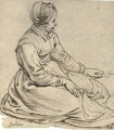A seated girl wearing a cap, in profile to the right, turning a spit - (after) Sir Peter Paul Rubens
