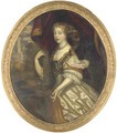 Portrait of a lady, three-quarter length, in a white silk dress - (after) Sir Peter Lely